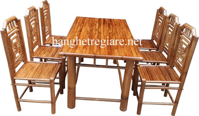 bàn ghế tre quán ăn giá rẻ